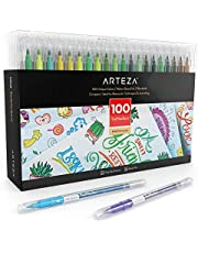 Arteza Lot de 100 feutres double pointe | 100 couleurs éclatantes | Feutre coloriage pointe fine et feutre pinceau | Feutres calligraphie | Feutre mandala | Feutres coloriage adultes et enfants