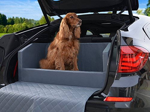 Travelmat PLUS Kofferraum Hundebett fürs Auto 90x70 cm Kunstleder mit orthopädischer Liegefläche grau