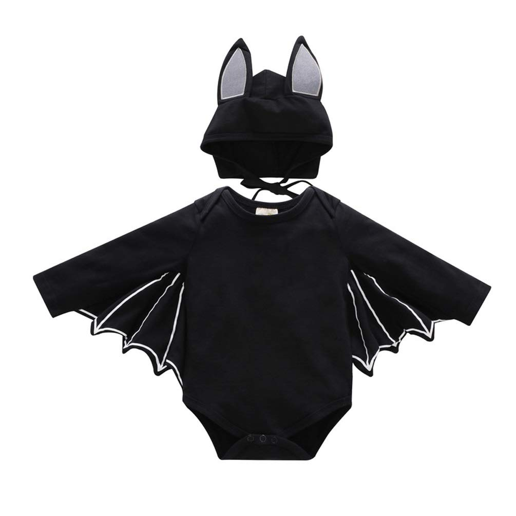 MAZORT Baby Black Bat Wing Romper with Hat Set Halloween Cosplay Costume