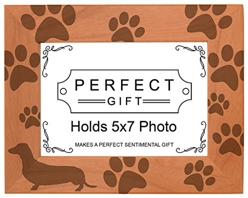 Gifts For All By Rachel Olevia Dog Lover Gift Dachshund Weiner Dog Prints Natural Wood Engraved 5x7 Landscape Picture Frame Wood