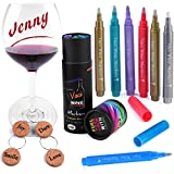 VACI Wine Glass Markers, Set of 7 Metallic Color Pens Drink Markers + 4 ...