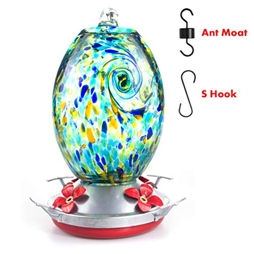 Muse Garden Hummingbird Feeder for Outdoors, Hand Blown Glass, 25 Ounces, Containing Ant Moat, Starry Night (Water To Sugar Ratio For Hummingbird Feeder)