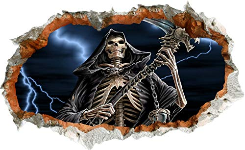 Halloween Wall Sticker PVC 3D Halloween Theme Stickers Wholesale Zombie Grim Reaper Claws Scary Mural 36.61 x 22.04 Inch (B) -