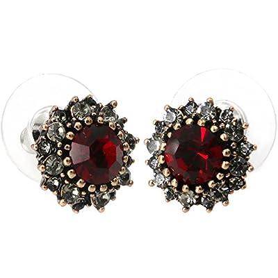 Yoursfs Vintage Earrings Round Dark Red Austrian Crystal/Opal/Heart Shaped Studs Dainty Earrings for sale eDYGSAr4