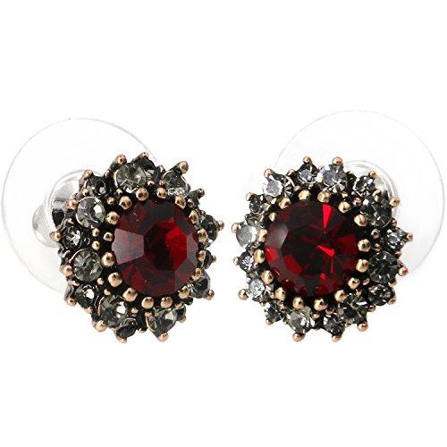 (Yoursfs Burgandy Earrings For Women Vintage Earrings Red Austrian Crystal Studs Earrings)