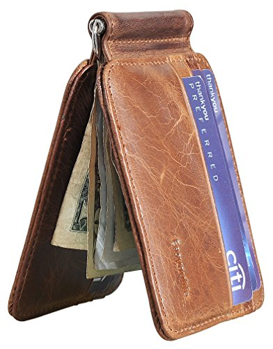 (Easyoulife Men's RFID Slim Front Pocket Wallet with Money Clip Genuine Leather(B Style - Brown))