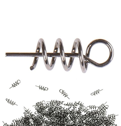 Soft Bait (Hyamass 200pcs Metal Spring Pin Twist Lock Outdoor Fishing Crank Hook Centering Pin for Soft Lure Bait Worm Crank)