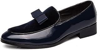 Derbys Homme Richelieus pour Hommes Bout Rond Occasionnels Mocassins élégants en Daim Splice en Cuir Verni Slip-on habillé Chaussures habillées Durable résistant à l'abrasion