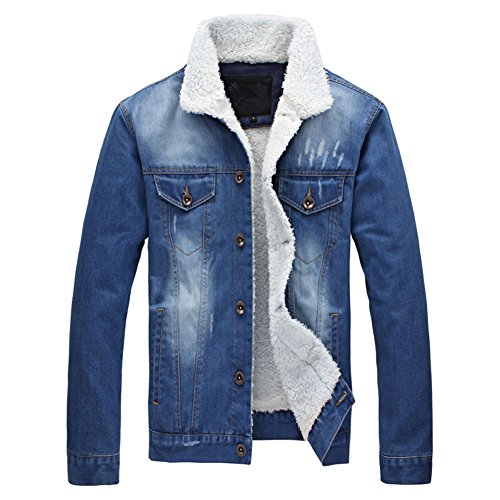 Meilaier Mens Fashion Fleece Lined Washed Denim Coat Winter Jacket Mens Fashion Fleece Lined Washed Denim Coat Winter Jacket (XL, Light Blue)
