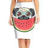 Pug Dog In Sunglasses Eating Watermelon Women's Fashion Printed Pencil Skirt