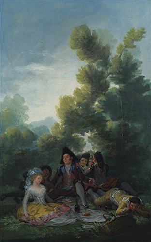 Perfect Effect Canvas ,the Beautiful Art Decorative Prints On Canvas Of Oil Painting 'Francisco De Goya A Picnic ', 18 X 29 Inch / 46 X 73 Cm Is Best For Laundry Room Decor And Home Decoration And (73 Brown Frame Sunglasses)