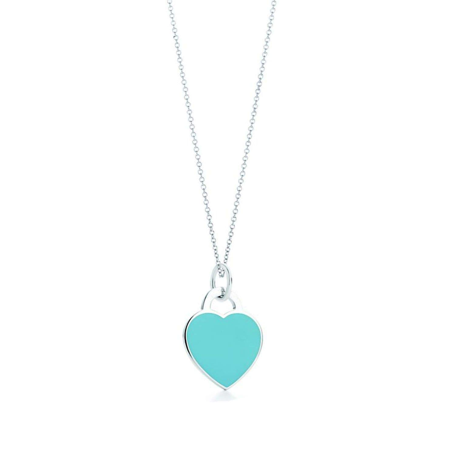 xinchengquzhihao Tiny Heart Necklace/&Pendant Blue/&Pink/&Red Stainless Steel Chain Engraved Letter Necklace Charm Women Jewelry