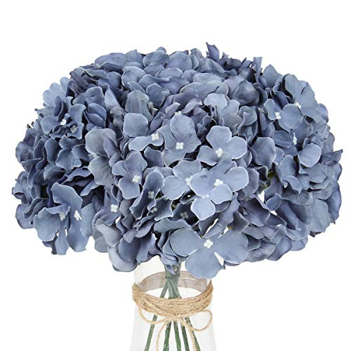 LuLuHouse Silk Hydrangea Heads with Stems,Dusty Blue Artificial Flower Heads DIY Wedding Centerpiece Home Party Baby…
