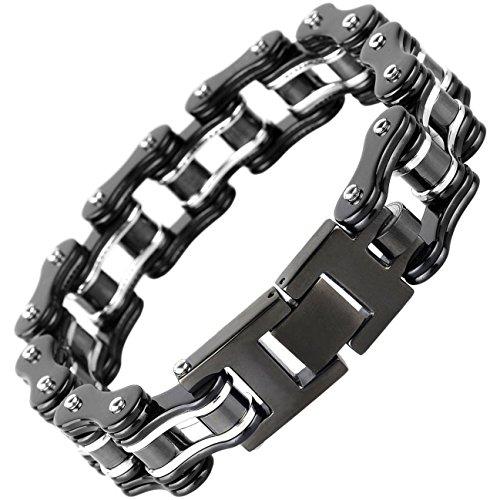 Silking Jewelry Heavy Metal Stainless Steel Men's Motorcycle Bike Chain Bracelet Black Bangle 16mm (Bike Chain Bracelet)