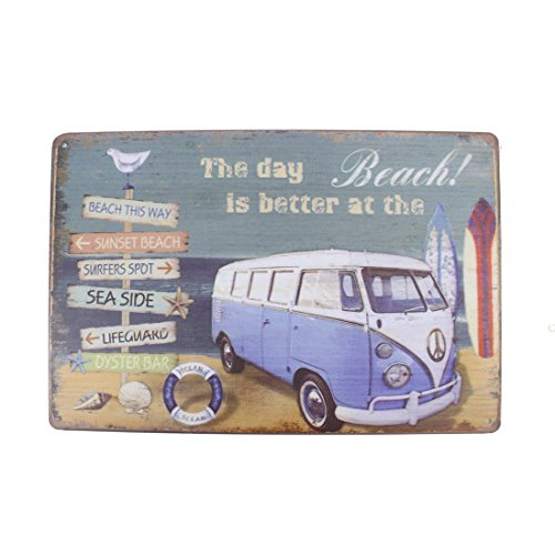 12x8 Inches Pub,bar,home Wall Decor Souvenir Hanging Metal Tin Sign Plate Plaque (The Day is Better at The Beach)