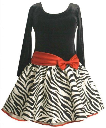 Girls Plus Black/White Velvet To Flock Zebra Stripe Taffeta Drop Waist Dress, Bonnie Jean, Red, 18.5