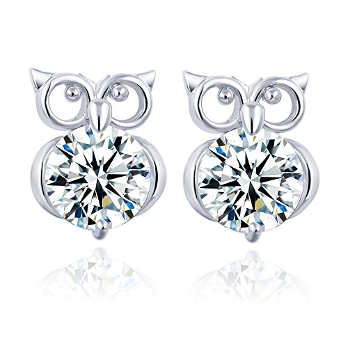 Winter's Secret Silver Color Hollow out the Owl Pattern Stud Crystal Zircon Fashion - Magnetic Earrings Spike