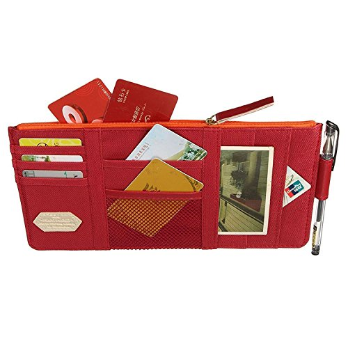 Price comparison product image StyleZ Car Sun Visor Tidy Organizer Storage Bag Holder Pocket CD Case Card Pouch (Wine Red)