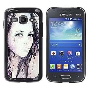 For Samsung Galaxy Ace 3 III / GT-S7270 / GT-S7275 / GT-S7272 Case , Girl Watercolor Painting Art Black - Diseño Patrón Teléfono Caso Cubierta Case Bumper Duro Protección Case Cover Funda