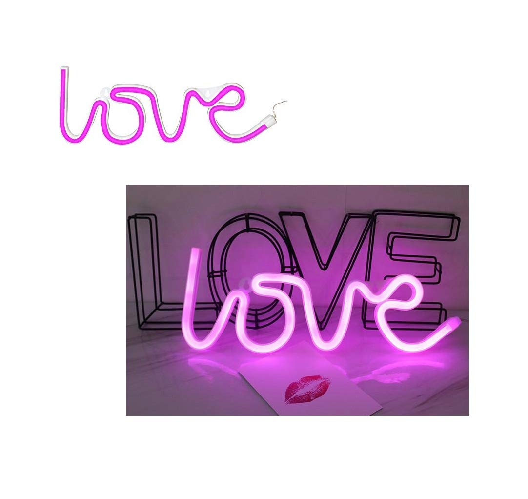 LEDES Neon Light, LED Love Sign Shaped Decor Light, USB or Battery Powered Wall Decor for Chistmas, Wedding, Valentine's Day, Birthday Party, Kids Room, Living Room, Wedding- Pink