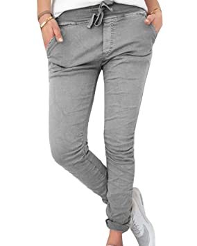Guiran Mujer Casual Pantalones Chinos Elasticos Cintura Elastica Boyfriend Jogger Pants