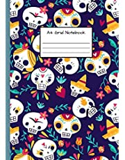 A4 Grid Notebook: Squared Paper - Cute Design - for Maths/Science school work, University, Notes - Skull theme