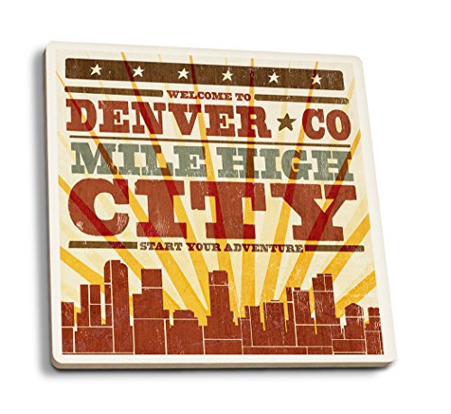 - Lantern Press Denver, Colorado - Skyline and Sunburst Screenprint Style (Set of 4 Ceramic Coasters - Cork-Backed, Absorbent)