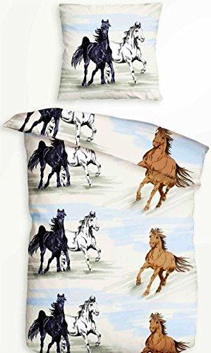 2 tlg. Bettwäsche 135 x 200 cm in blau/grau aus Baumwolle Tiermotiv Pferd mit Reißverschluss