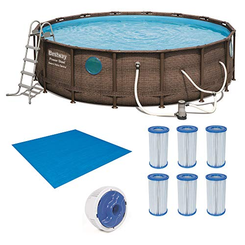 Bestway Power Steel Swim Vista 16ft x4ft Metal Frame Swimming Pool Set & Pump -  Bestway - Bestway, 56726E-BW