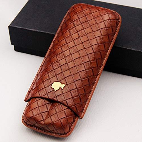 - Knitting Embossed 2 ct Adjustable Leather Cigar Case Travel Holder (Red Brown)