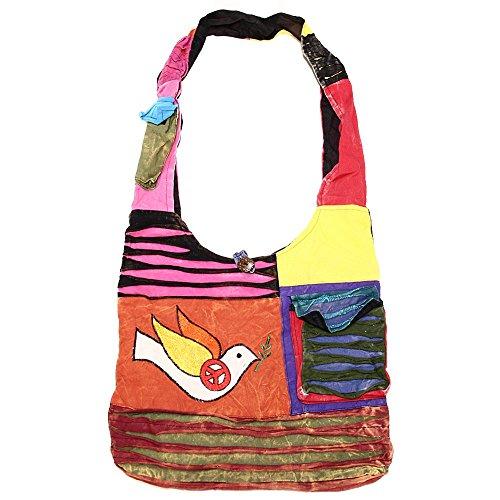 Bohemian Hippie Crossbody Shoulder Bag Sling Cotton Handmade (Tibetan Bag)