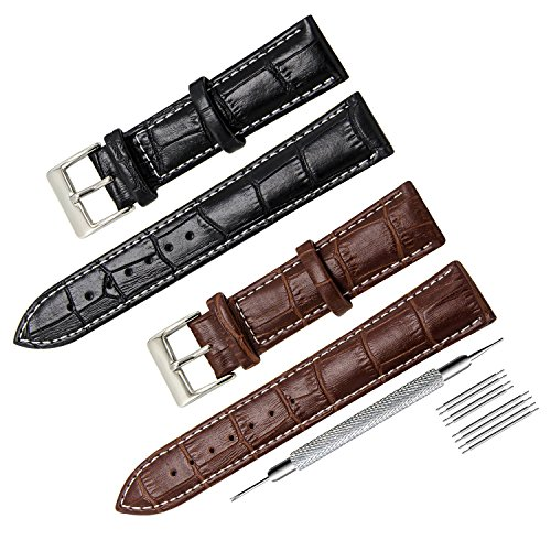 CIVO 2 Packs Genuine Leather Watch Bands Top Calf Grain Leather Watch Strap 16mm 18mm 20mm 22mm 24mm for Men and Women (20mm, Black/Dark Brown(White Stitching)) (Genuine Calf Leather Watch Band)