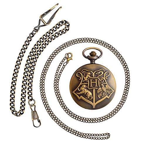 BOSHIYA Bronze Vintage Brass Antique Case Pocket Watch Fob Watch for Men Women with 1 PC Necklace Chain 1 PC Clip Key Rib Chain 1 Box