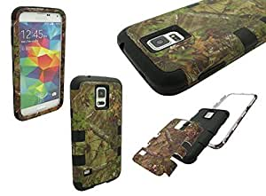 S5 Shockproof Case, Mobile King USA High Impact Rugged Hybrid CAMO WOODS TREES PATTERN Case for Samsung Galaxy S5 i9600