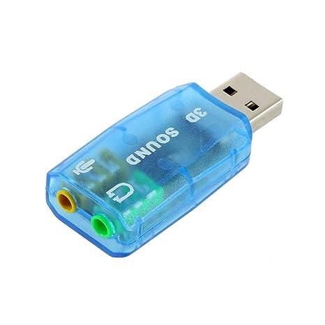 Sanzhileg Tarjeta de Audio compacta portátil 3D Adaptador de micrófono/bocina USB 1.1 7.1 Sonido