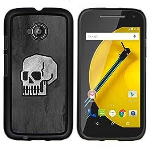 EJOOY---Cubierta de la caja de protección para la piel dura ** Motorola Moto E2 E2nd Gen ** --Minimalista Cráneo - B & W Goth
