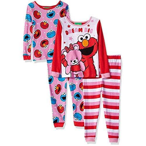 Elmo Pajamas - Sesame Street Toddler Girls' Cotton 4-Piece Pajama Set, Sweet Dreams, 4T
