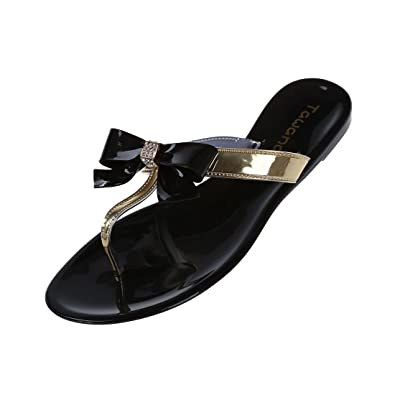 89ca8f7f4eaee4 TOOGOO(R) Womens Ladies Toe Bow Diamante Jelly Summer Flat Flip Flop Thong  Sandals Black Size Uk 4 Eu 37 Us 6  Amazon.co.uk  Shoes   Bags
