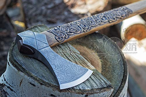Hand forged two-handed axe based on axe from the grave at ()
