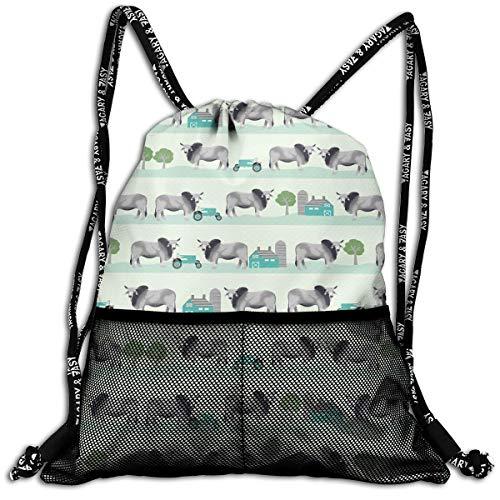 Women's Men's Drawstring Backpack, Brahman Cattle Fabric Farm Ranch Hiking Rucksack For Home Travel Exercise ()