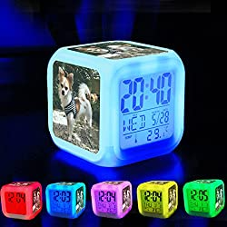 Alarm Clock 7 LED Color Changing Wake Up Bedroom with Data and Temperature Display (Changable Color) Customize the pattern-315. Puppy Animal Chihuahua Canine Dog dog