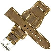 20mm German Military Aviator Watch Strap Swiss Army Brown Leather Cuff Watch Band Brown 20 mm Bund X1