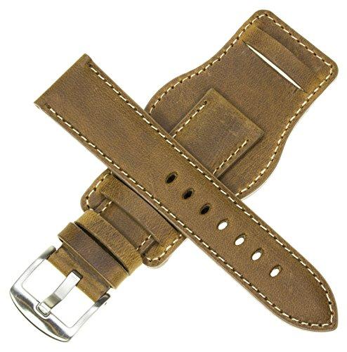 (20mm German Military Aviator Watch Strap Swiss Army Brown Leather Cuff Watch Band Brown 20 mm Bund X1)