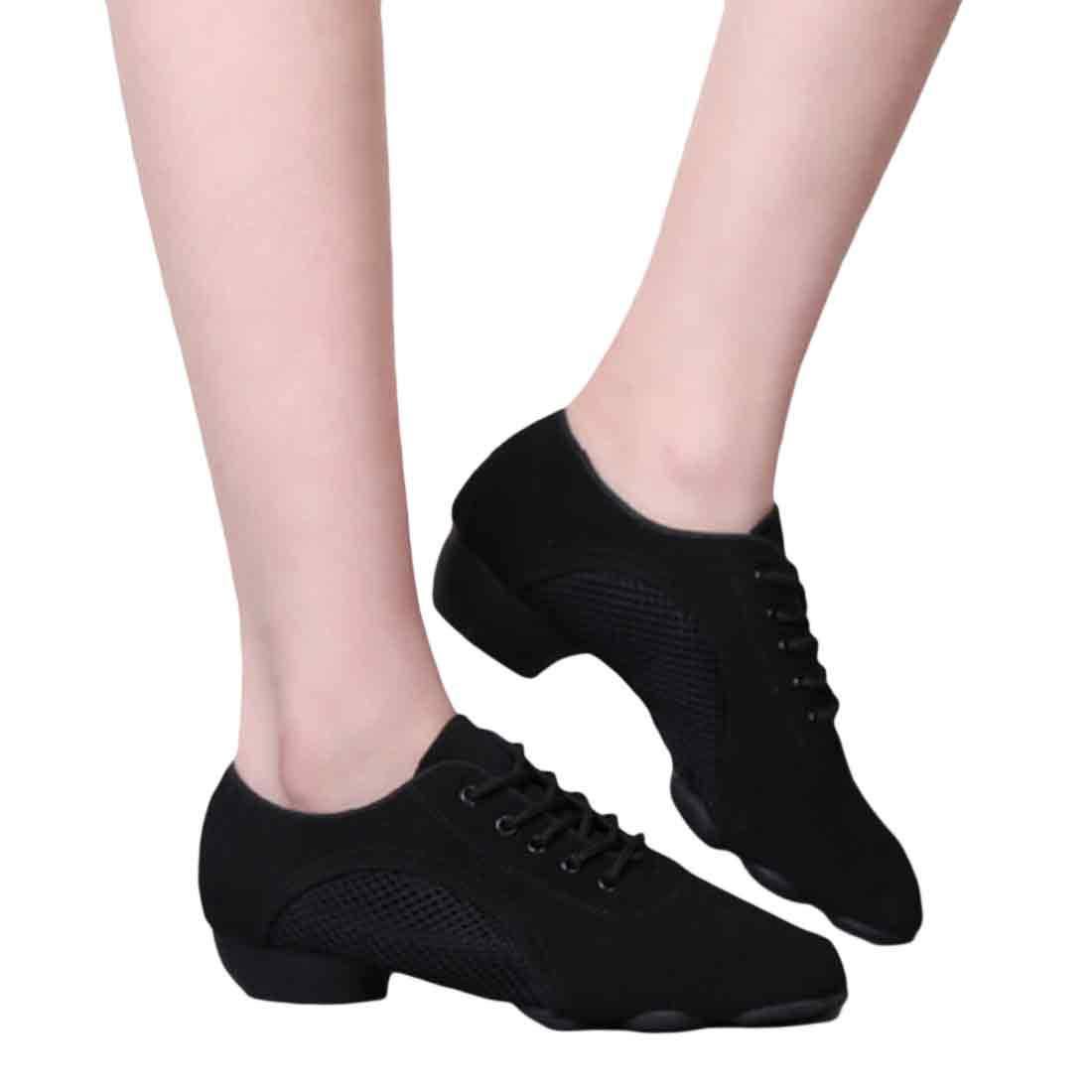 Yefree Zapatillas de Baile con Suela Dividida para Hombres Zapatos con Cordones Ligeros para Practicar Deporte Latino