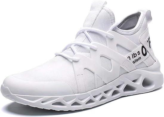 Pozvnn - Zapatillas Deportivas de Malla ultraligeras y Transpirables para Correr, para Hombre, Caminar, Gimnasio, Botas de Moda, para Deportes al Aire Libre, Blanco (6917white), 45 EU: Amazon.es: Zapatos y complementos