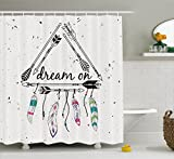 Black White and Pink Shower Curtain Ambesonne Indie Shower Curtain, Boho Style Tribal Ethnic Arrows Triangle Shape Dream On Hand Writing Feathers, Fabric Bathroom Decor Set with Hooks, 84 Inches Extra Long, Black White Pink