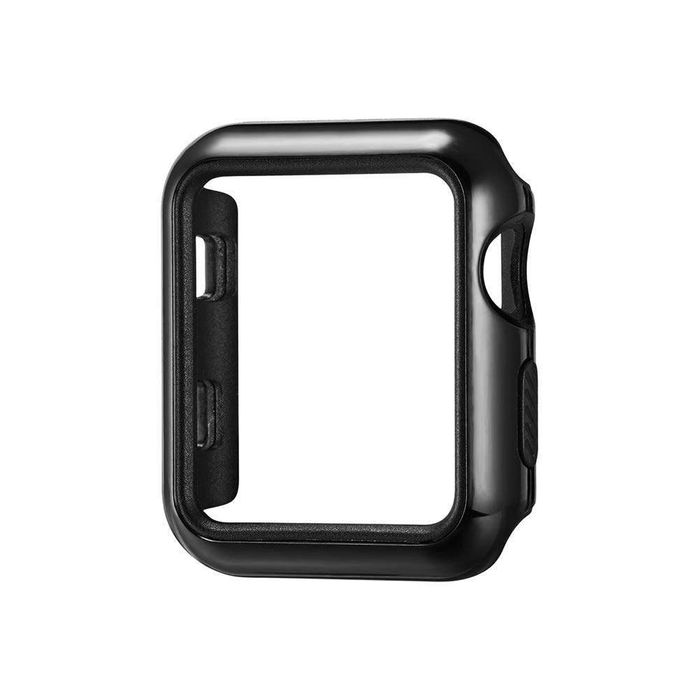 Compatible with Apple Watch Case 42mm, Tuscom Soft Silicone Ultra Slim Lightweight Bumper Case Anti-Scratch Protective Cover Skin Shell for iWatch Apple Watch Series 3 42mm (Black)