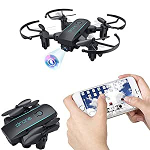 Bitzong Black Mini Pocket Portable Foldable Quadcopter Drone with 720P HD Camera Live Video for Kids and Beginners, 2.4GHz 6 Axis Gyroscope One Key Takeoff, Landing, Return, Altitude Hold, 360 Degree Flip and Headless Mode, Detachable Propeller Guard