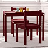 Kids Table and Chairs Set Light Espresso Wood Children's Set with One Table and 2 Chairs , Great for Playing , Learning , Eating
