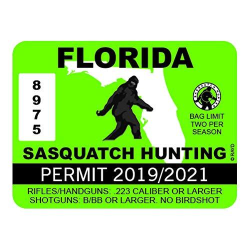 "RDW Florida Sasquatch Hunting Permit - Color Sticker - Decal - Die Cut - Size: 4.00"" x 3.00"""